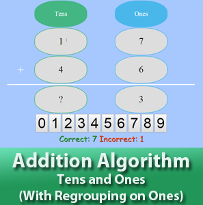 Addition Algorithm - Tens and Ones - With Regrouping on Ones