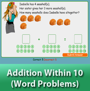 online math worksheets - Addition within 10 (Word Problems)
