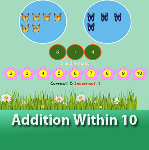 online math worksheets - Addition within 10