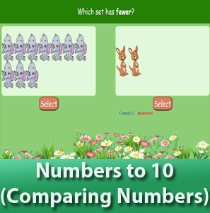 online math worksheets - Number to 10 for kids (Comparing Numbers), Determine which set has more or less