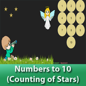 online math worksheets - Number to 10 for kids (Counting stars), Learn how to count up to 10.