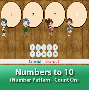 online math worksheets - Number to 10 for kids (Numbers Pattern), Determine the sequence of the number from 1 to 10