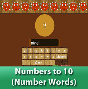 online math worksheets - Number to 10 for kids (Number Words), Learn how to spell the words from 1 to 10.
