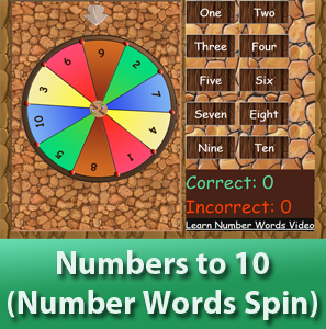 online math worksheets - Number to 10 for kids (Numbers Words),Spin the wheel to determine the numer and allow the kids to choose the correct number words.  Learn number words for kid.
