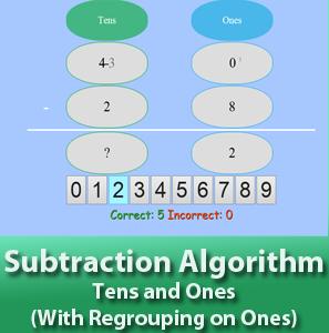 Subtraction Algorithm - Tens and Ones - With Regrouping on Ones