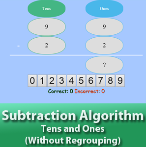 Subtraction Algorithm - Tens and Ones - Without Regrouping