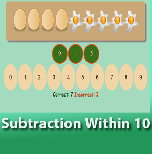 online math worksheets - Subtraction within 10
