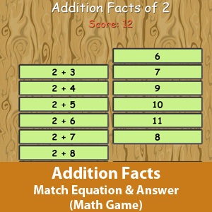 Math  game- Matching the correct answer with its addition equation