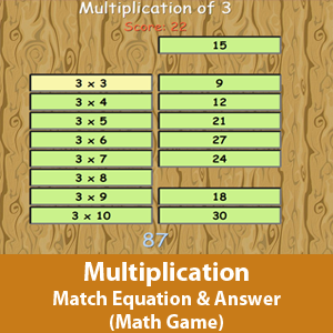 Math  game- Matching the correct answer with its multiplication equation