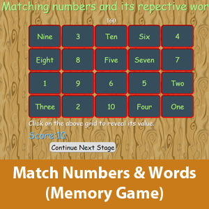 Math memory game- Matching the correct number with its respective word