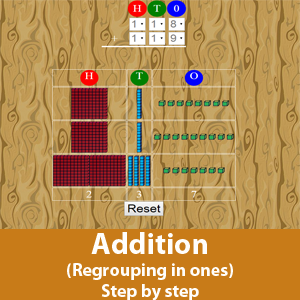 Addition with Regrouping in Ones (Step by Step)