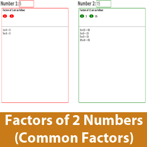 Factor listing of 2 numbers (get the common factor)