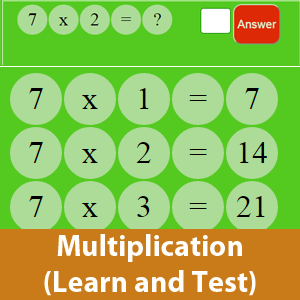 Learning Time table (multiplication) with test option