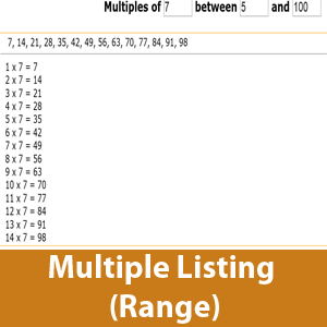 List multiple of a number withing a range