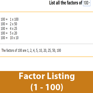 List the factor of a number (1 to 100)