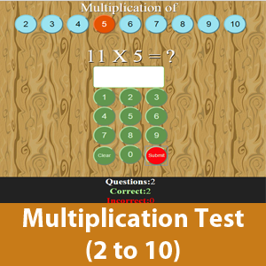 Multiplication Test (2 to 10)