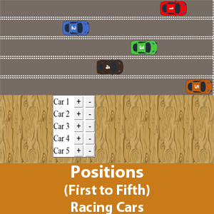 Position (first to fifth) - Racing cars