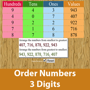 Ordering of Number (Ones , Tens and Hundreds)