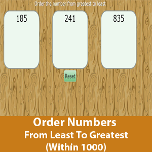 Order Numbers From Least To Greatest (Within 1000)