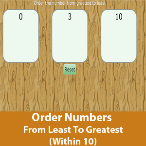 Order Numbers From Least To Greatest (Within 10)