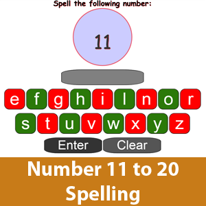 Spell Number Word 11 to 20