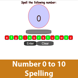 Spell Number Word 0 to 10