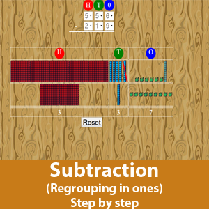 Subtraction with Regrouping in Ones (Step by Step)